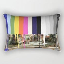 Garage Sale Painting of Peasants with Color Bars Rectangular Pillow