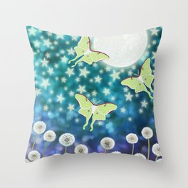the moon, stars, luna moths, & dandelions Throw Pillow