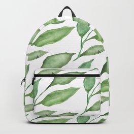 Green watercolor leaves design Backpack