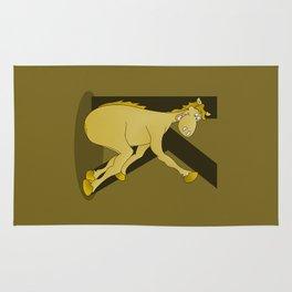 Pony Monogram Letter K Rug