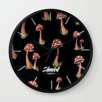 mushroom Wall Clocks featuring Mushroom  by Shmick