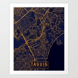 Taguig, Philippines - City At Night Art Print