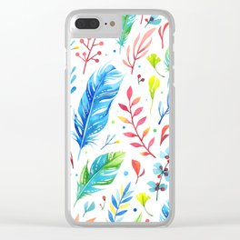 Boho Feathers Clear iPhone Case