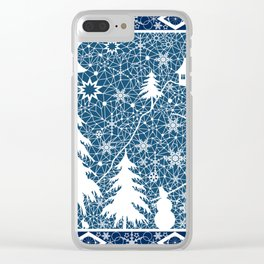 New year's design. Lace fabric . Clear iPhone Case
