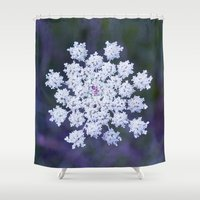 snowflake Shower Curtains featuring Snowflake by The Last Sparrow