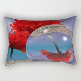poppy and crystal ball - refraction of light Rectangular Pillow
