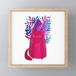 Cat and foliage - pink and purple Framed Mini Art Print
