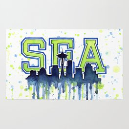 Seattle 12th Man Art Watercolor Space Needle Painting Rug