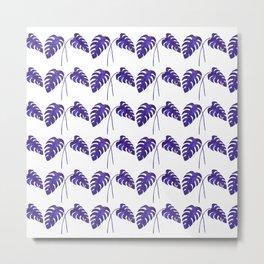 Indigo Monstera Leaf Watercolor - on white Metal Print