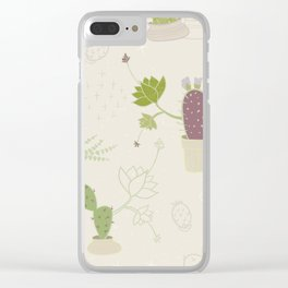 My Potted Cactus Pattern Clear iPhone Case