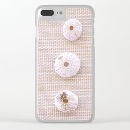 Urchins and seashells nautical design on textured background. Clear iPhone Case