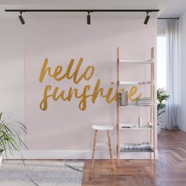 Hello sunshine - Gold and Pink Wall Mural