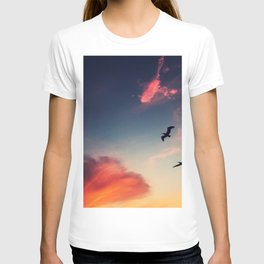 Flying couple in sunset T-shirt