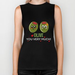 Olive You Very Much Cute Olive Pun Biker Tank