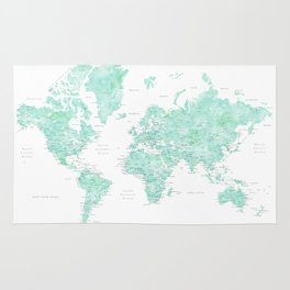 "Light mint watercolor world map, detailed, ""Desie"" Rug"