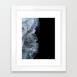 Waves on a black sand beach in iceland - minimalist Landscape Photography Framed Art Print