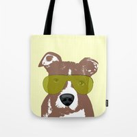 pit bull Tote Bags featuring American Pit Bull Terrier by ialbert