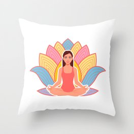 cute girl in meditation pose Throw Pillow