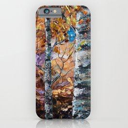 Birch Trees with Palette Knife by OLena Art for @society6 iPhone Case