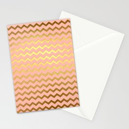 Rose Gold Chevron Stationery Cards