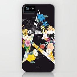 Pentagram with flowers iPhone Case