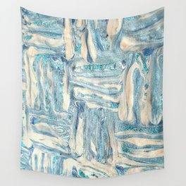 Blue and White Mixed Media Wall Tapestry
