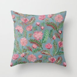 Soft Smudgy Pink and Green Floral Pattern Throw Pillow