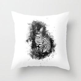 Savannah Cat No2 bw Throw Pillow