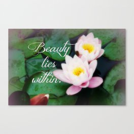 Beauty Lies Within, Water Lilies Photo Canvas Print