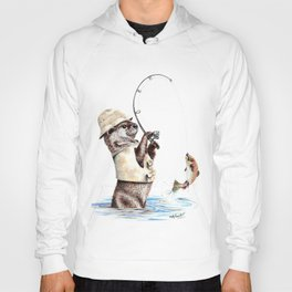 """ Natures Fisherman "" fishing river otter with trout Hoody"