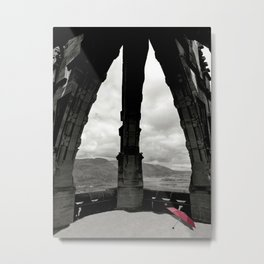 The Red Umbrella and view from Stirling's Wallace Monument  Metal Print