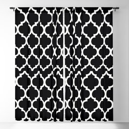 Moroccan Black and White Lattice Moroccan Pattern Blackout Curtain