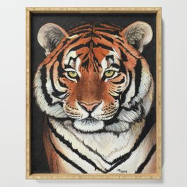 Tiger portrait drawing Serving Tray