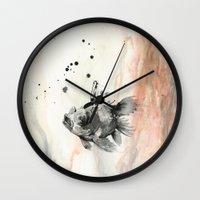 goldfish Wall Clocks featuring Goldfish by Lucia Calderon Arrieta