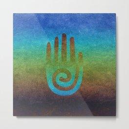 Spiral Hand Rainbow Grunge Metal Print