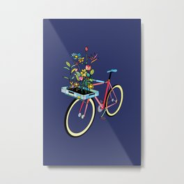 Bike and Flowers Metal Print
