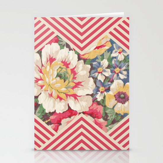 Floral Chevron Stationery Cards