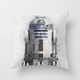 R2D2 from wars star Throw Pillow