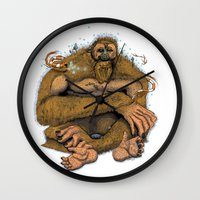 sasquatch Wall Clocks featuring Sasquatch by Gregery Miller
