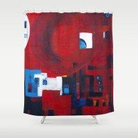 ballon Shower Curtains featuring Red ballon by Nathalie Gribinski