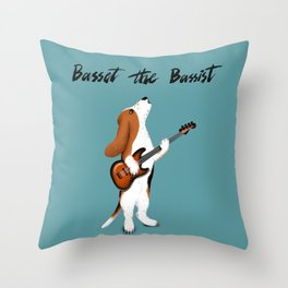 Basset the Bassist (Blue-Gray) Throw Pillow