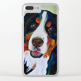 Colorful Bernese Mountain Dog Clear iPhone Case
