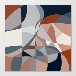 Navy and Rust (XIV) Abstract Canvas Print