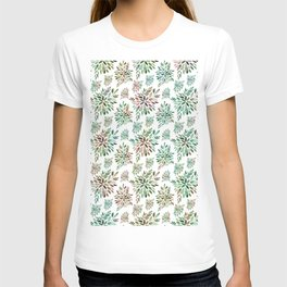 Light colors abstract flowers pattern T-shirt