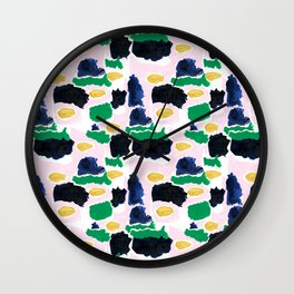 Imogen - painterly abstract palette colorful modern minimal painting boho dorm college hipster trend Wall Clock