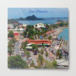 Colorful island and city scenes of Sint Maarten - St. Martin Metal Print