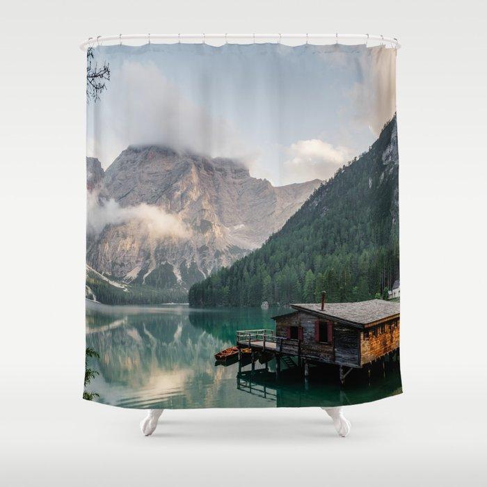Mountain Lake Cabin Retreat Shower Curtain