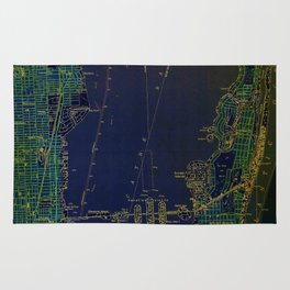 Miami old map year 1950, united states vintage maps. green and blue artwork Rug