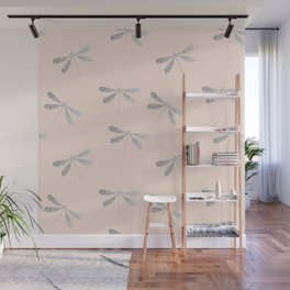 dragonfly pattern: silver & rose Wall Mural