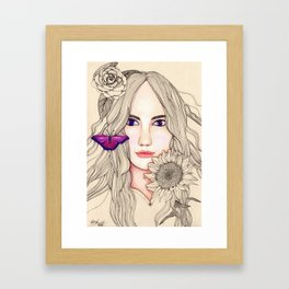 Woman with Gerbera and Sunflower Framed Art Print